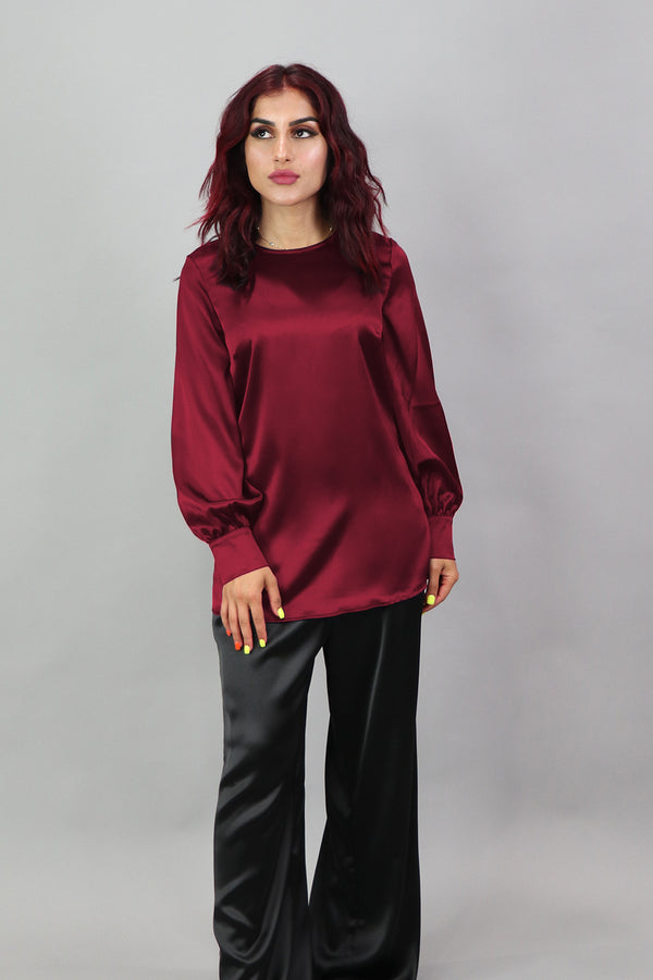 Lameera Satin Blouse - Cherry