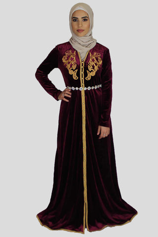 Sparkly Wine Red Moroccan Kaftan