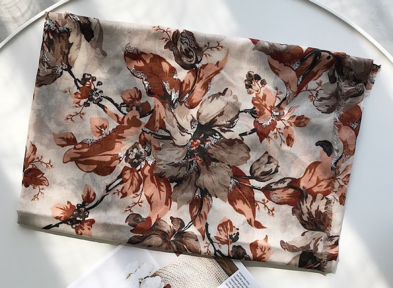 Burnt Orange Shine Floral Cotton Scarf (2253845168185)
