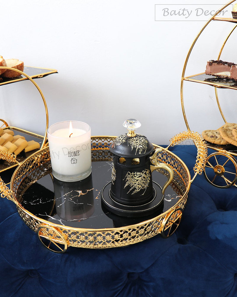 Luxury Black and Gold Tray with Handles (4610060779577)
