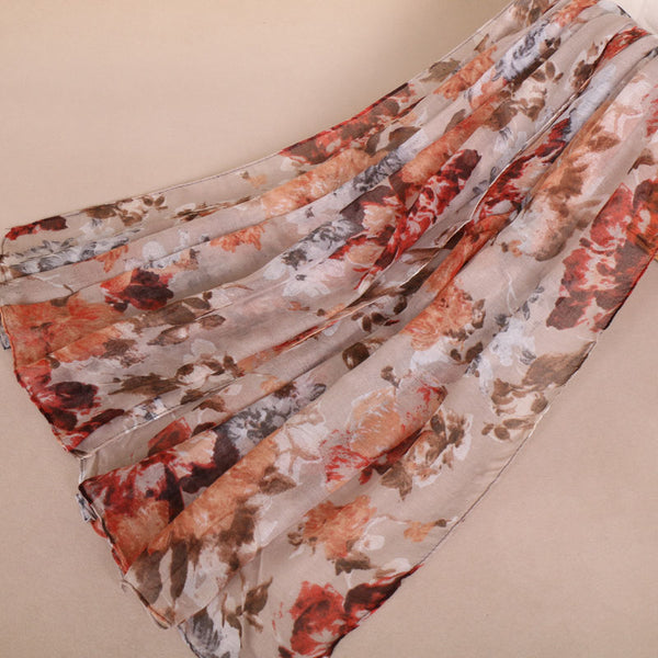 Beige Floral Cotton Scarf (933194727481)