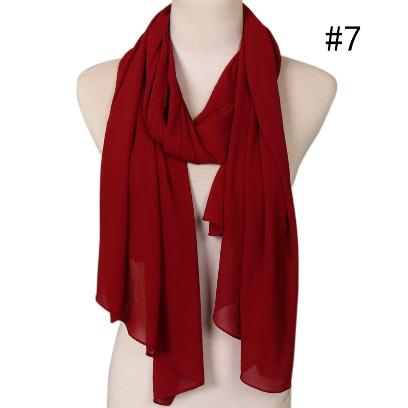 cherry red crepe chiffon scarf