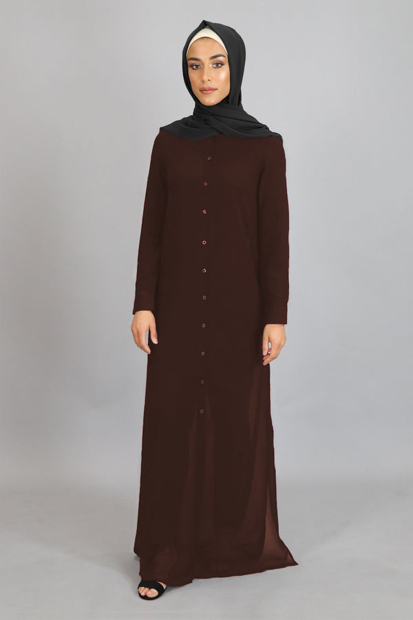 Chocolate Brown Chiffon Abaya Buttoned-Down Cardigan Dress (4347566784569)