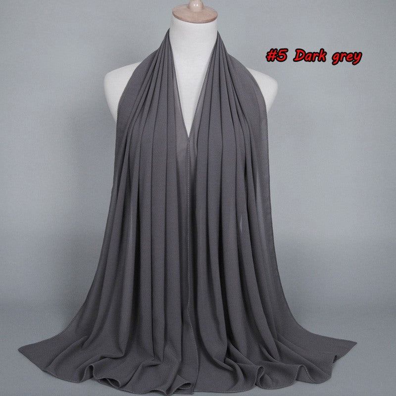 Dark Grey Chiffon Bubble Scarf (2251585683513)