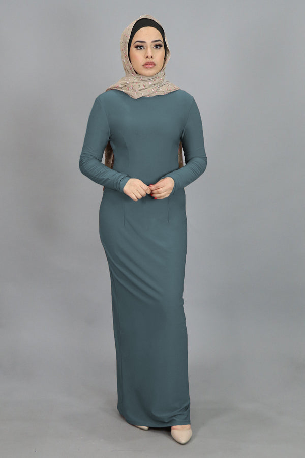Mint Gray Plain Fitted Spandex Maxi Dress