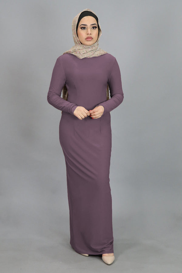 Dark Lavender Fitted Spandex Maxi Dress
