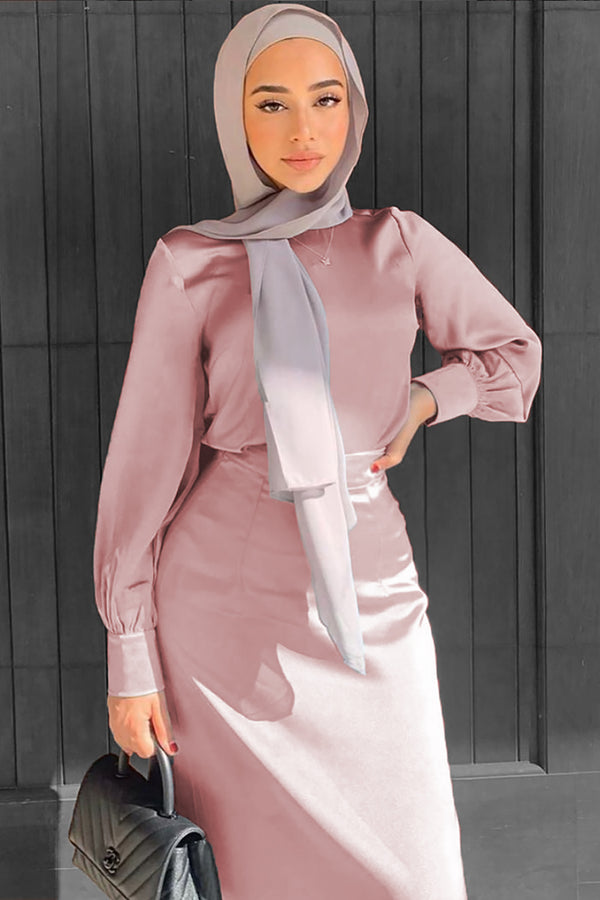 Lameera Satin Blouse - Dusty Rose