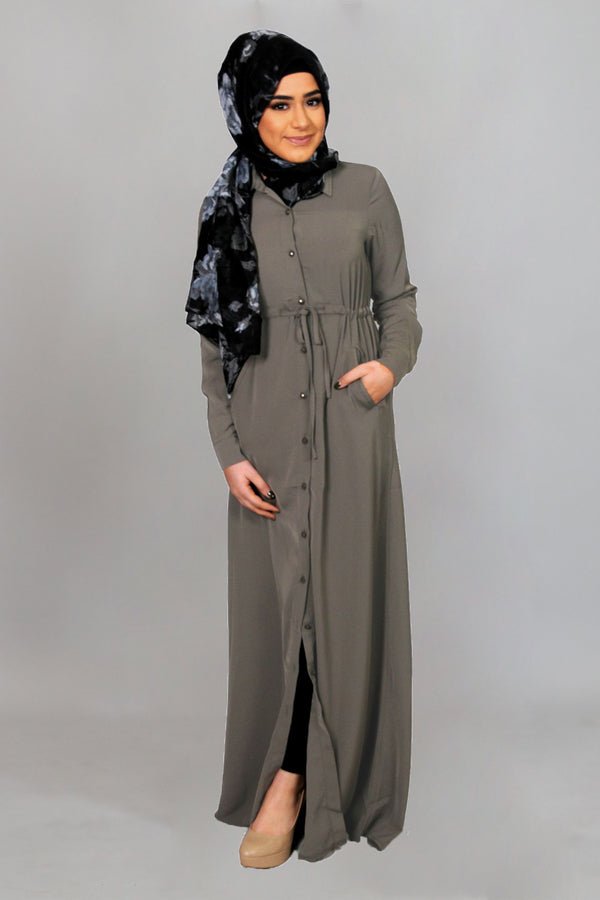Espresso Gray Soft Buttoned-Down Maxi Dress (9604246350)