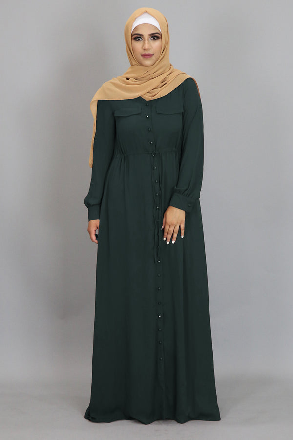 Emerald Green Chiffon Buttoned-Down Maxi Dress (2361409077305)