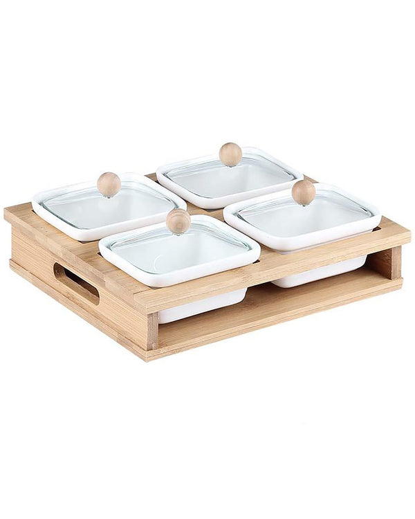 Wooden Sectional Serving Tray- White