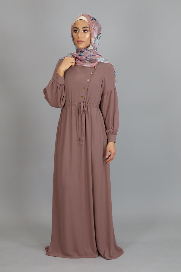 Nude Pink Soft Gold Button Maxi Dress (4644914724921)