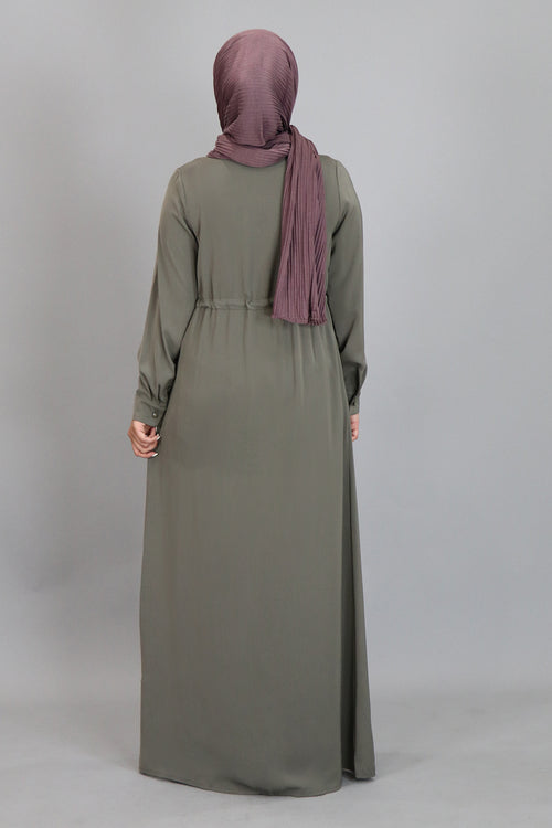 Koala Grey Zipper-Down Maxi Dress