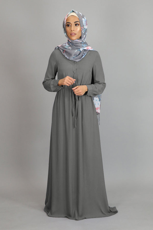 Koala Gray Chiffon Button Maxi Dress