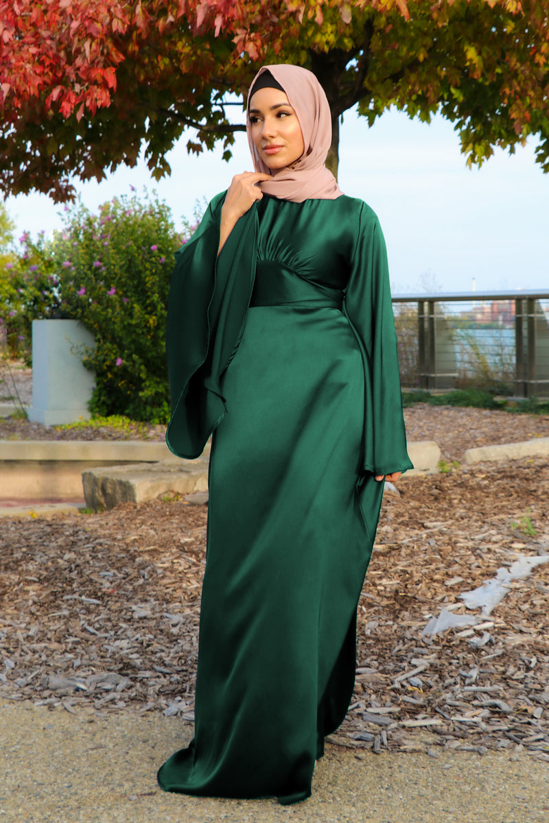 LaMeera Drape Sleeves Satin Dress - Emerald Green