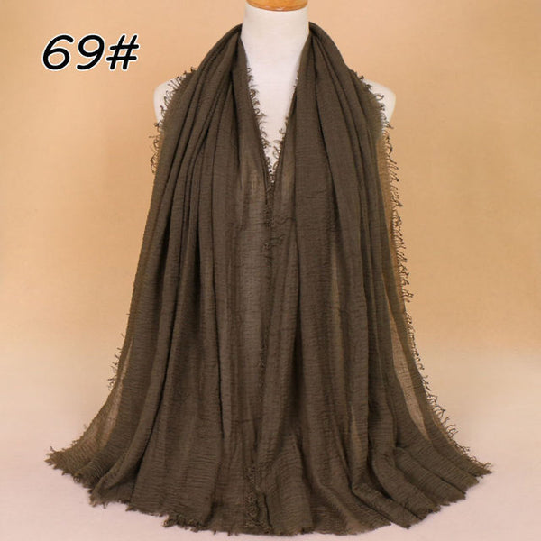 Olive Green Pleated Cotton Scarf (10872811854)