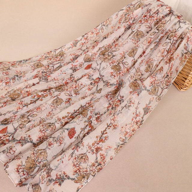 Burnt Red Floral Cotton Scarf (2336385040441)