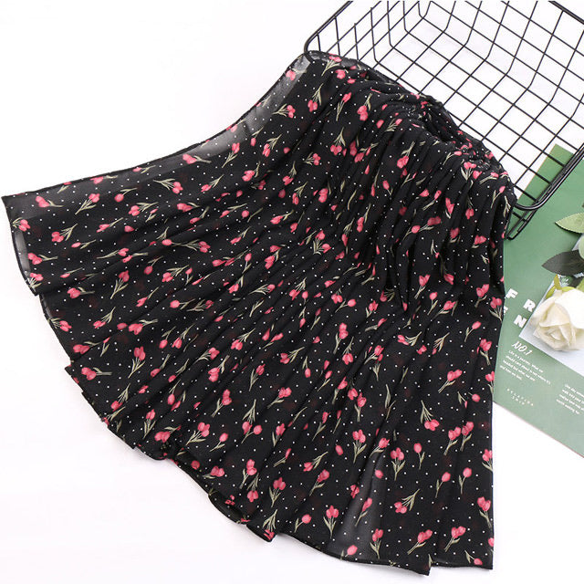 Black floral chiffon bubble scarf (5277441523880)