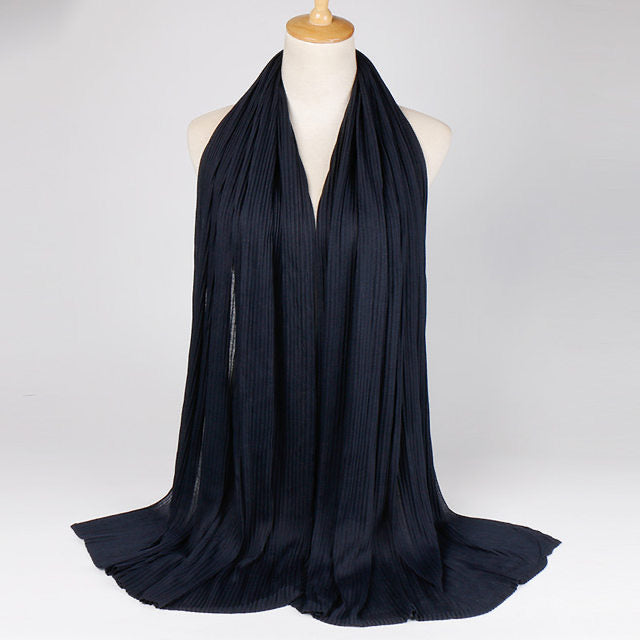 Navy Blue Crinkled Jersey Cotton Scarf (4635277754425)