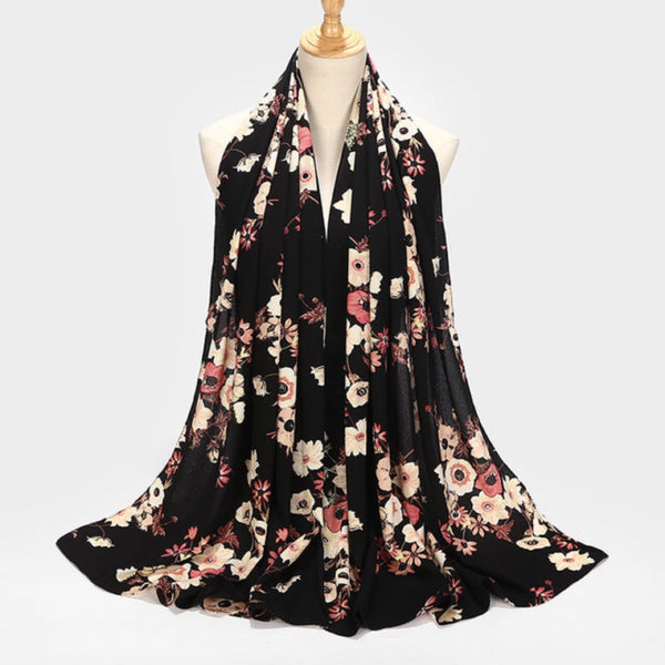 Black Floral Chiffon Bubble Scarf (2454961651769)