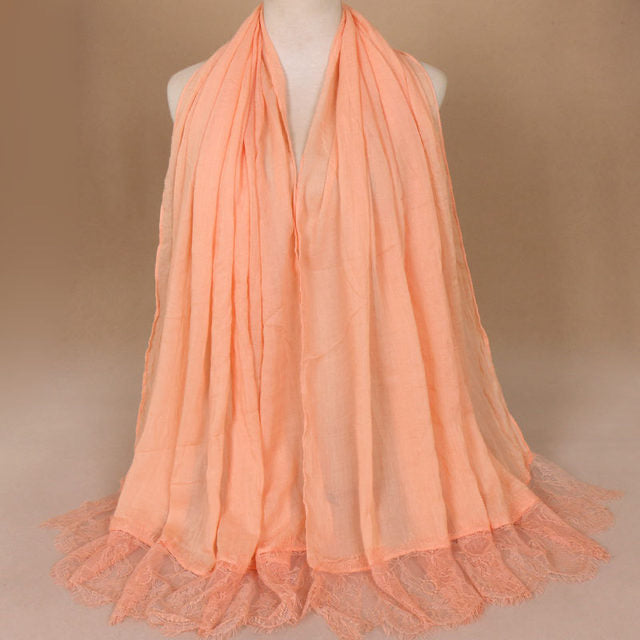 Peach Cotton Lace Scarf (10360474318)