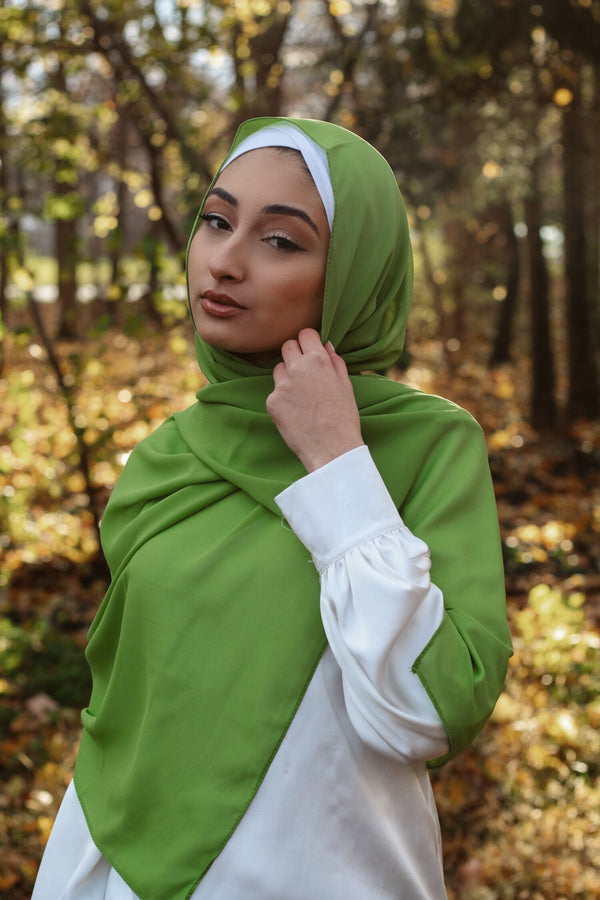 Stone Green Chiffon Bubble Scarf