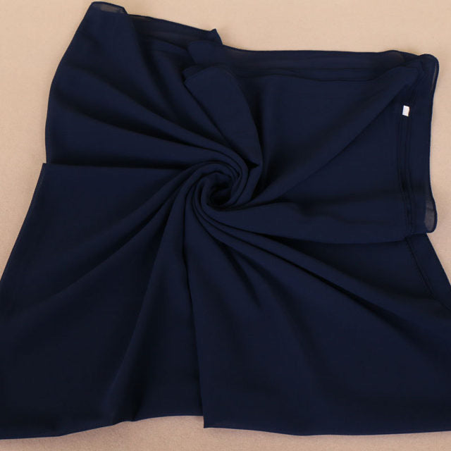 Navy Blue Square Chiffon Bubble Scarf (4624006217785)