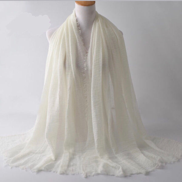 Off White Pleated Cotton Scarf (2245054955577)