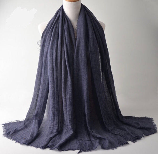 Navy Blue Pleated Cotton Scarf (2245059510329)
