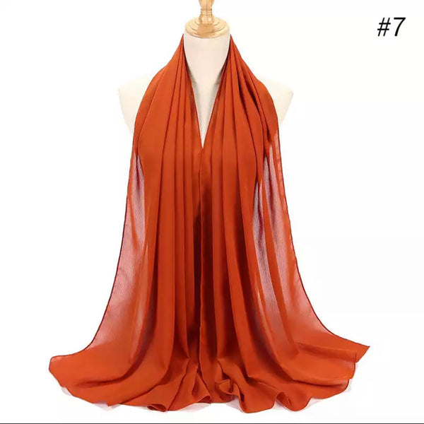 Orange crepe chiffon scarf