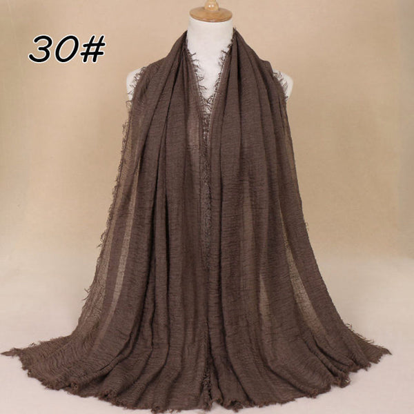Mocha Brown Pleated Cotton Scarf (4654607663161)