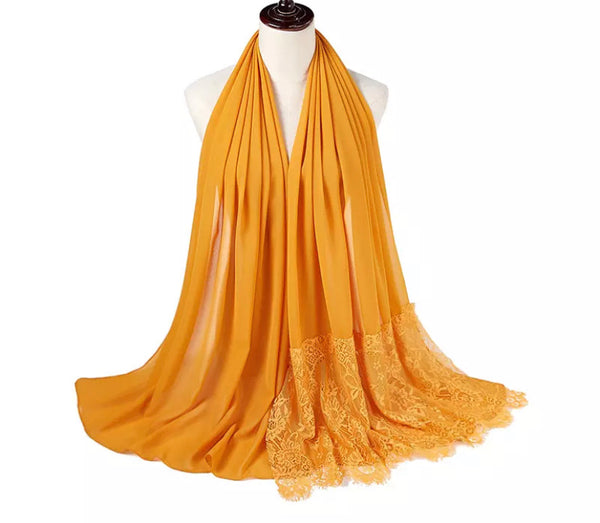 Yellow Lace Chiffon Scarf