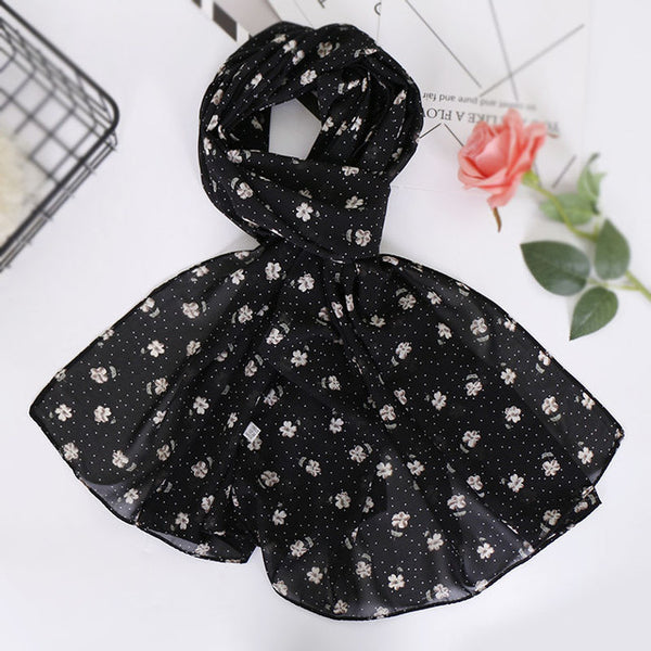 Black and light olive floral chiffon bubble scarf (5277481074856)
