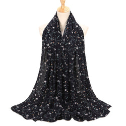 Navy Floral Chiffon Bubble Scarf (2454955819065)
