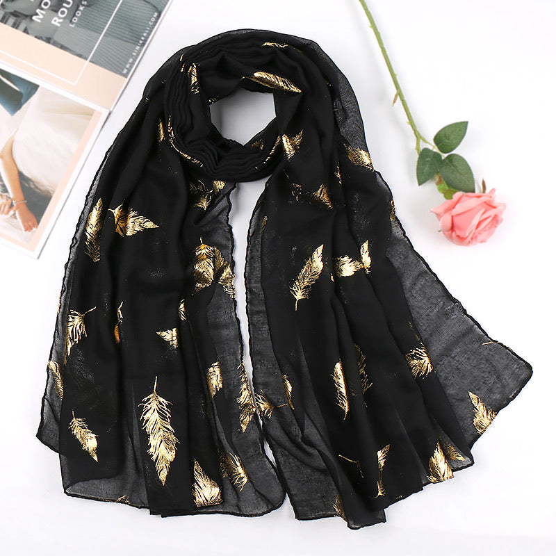 Black metallic cotton scarf
