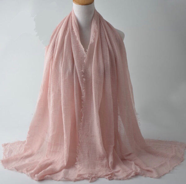 Light Pink Pleated Cotton Scarf (2245151588409)