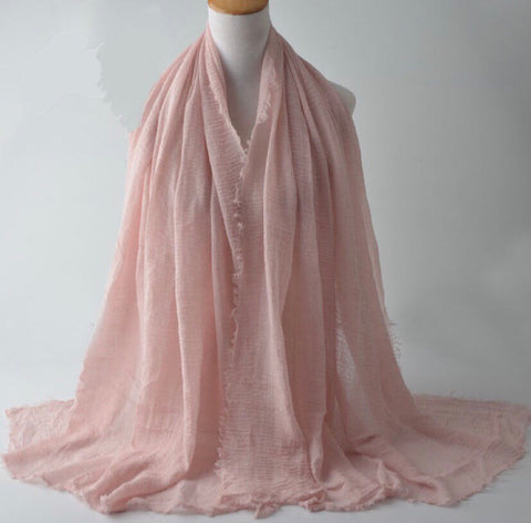 Pink Pleated Cotton Scarf
