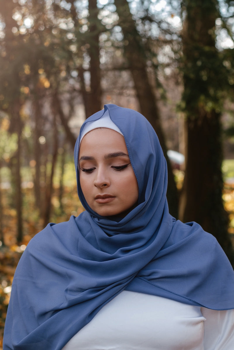 Dusty Blue Chiffon Bubble Scarf
