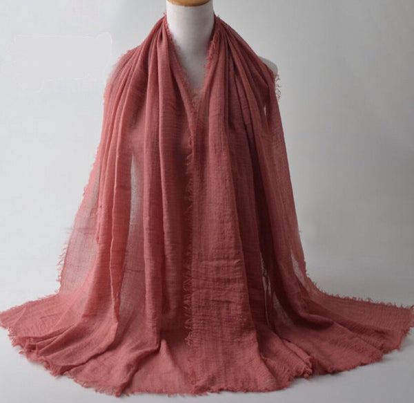 Redwood Pleated Cotton Scarf (2335788564537)
