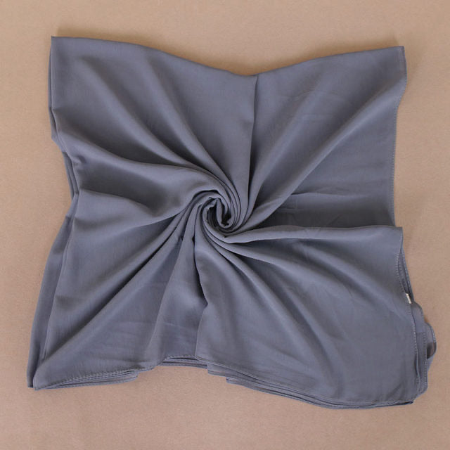 Dusty Blue Square Chiffon Bubble Scarf