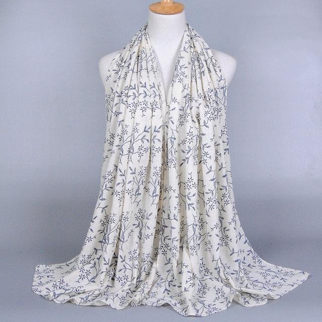 White Floral Cotton Scarf