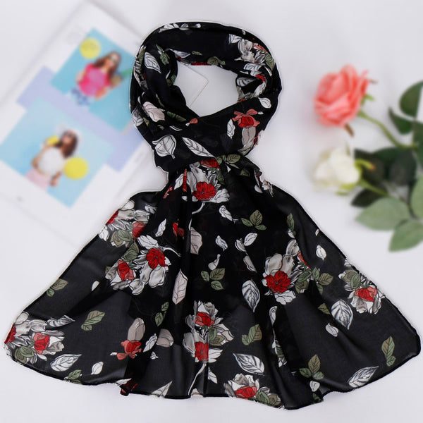 Black and olive floral chiffon bubble scarf (5277448175784)