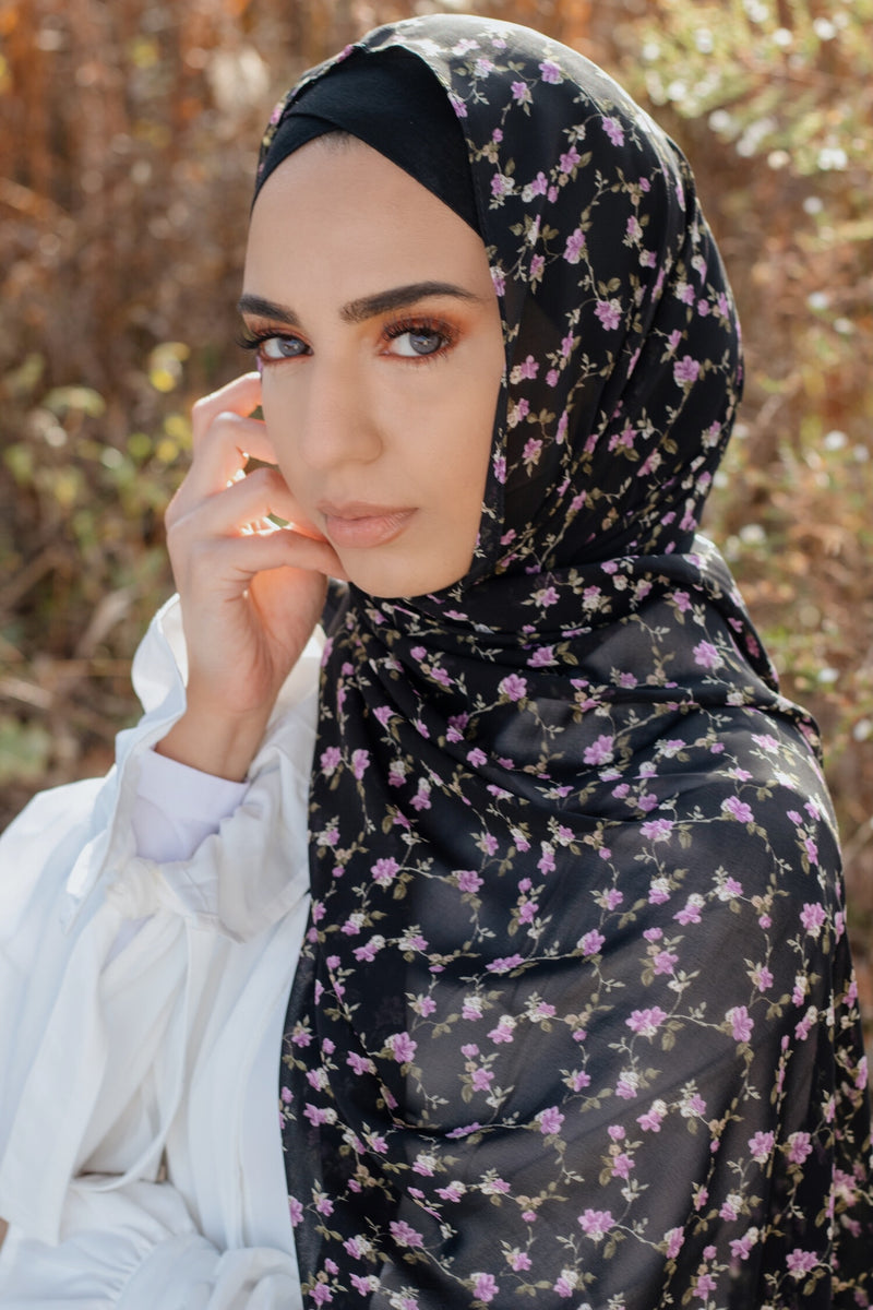 Black/Purple Floral Chiffon Bubble Scarf