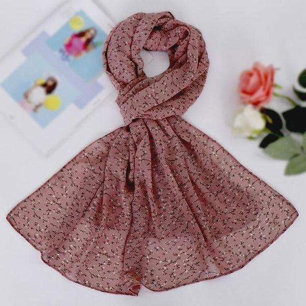 Light Pink Floral Chiffon Bubble Scarf (4624040788025)