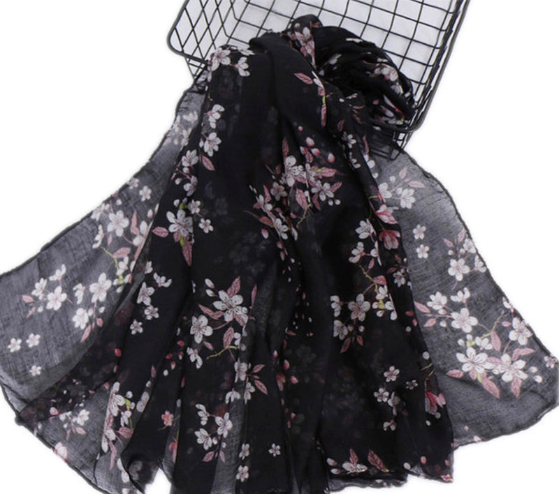 Black Floral Cotton Scarf (2336360792121)