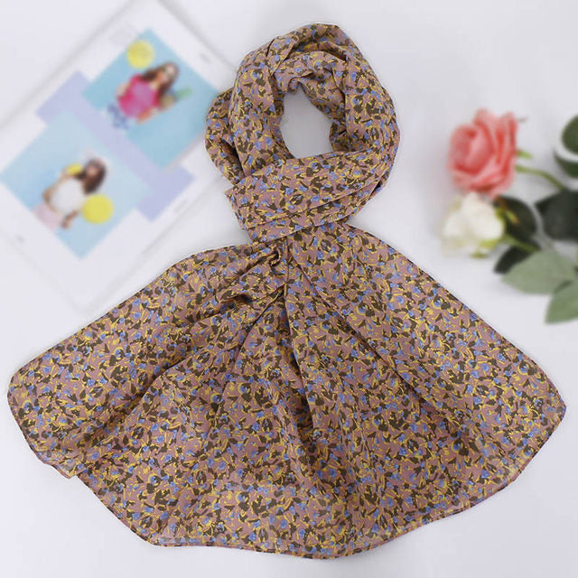 Rose Pink Floral Chiffon Bubble Scarf (4624066215993)