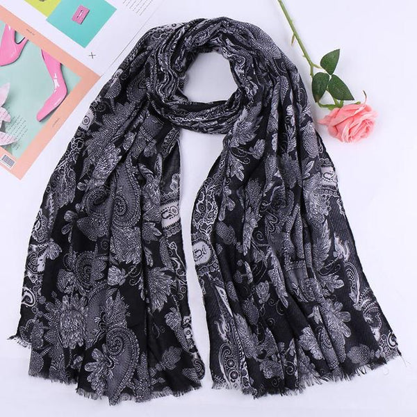 Black Floral Cotton Scarf