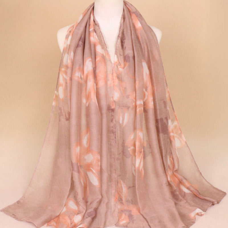 Khaki Floral Cotton Scarf (1482225254457)