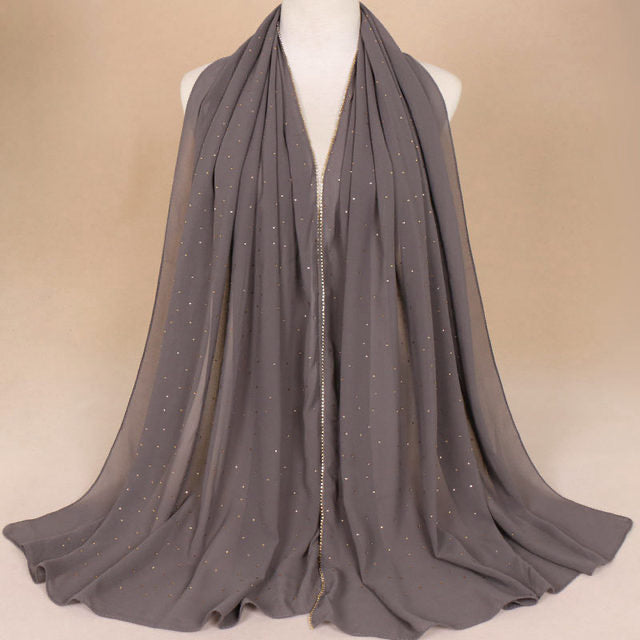 Dark Gray Chiffon Studded Scarf (4635291615289)