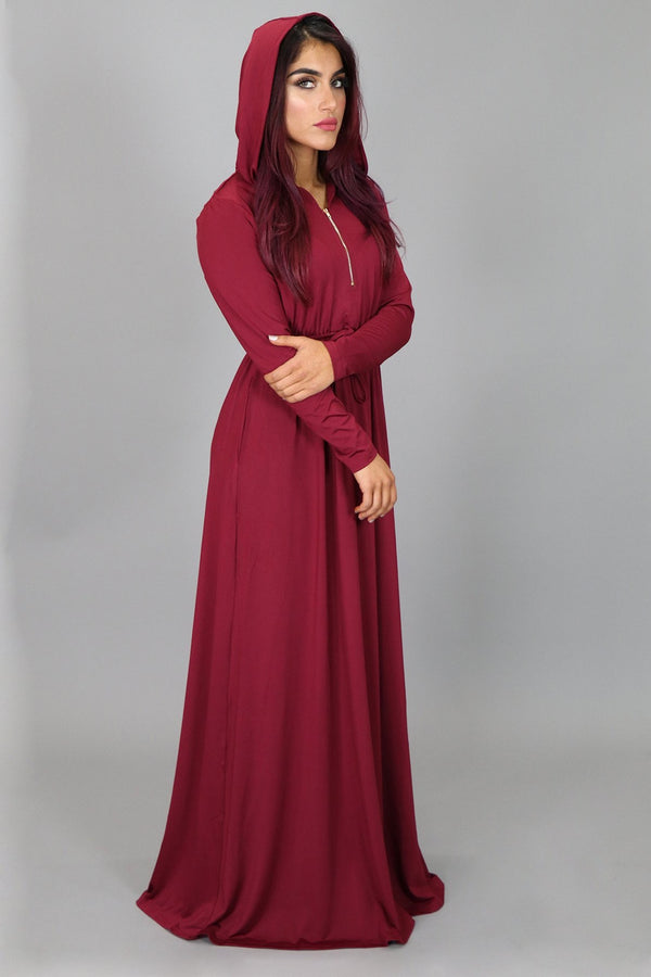 Maroon Alexa Zipper Maxi Dress