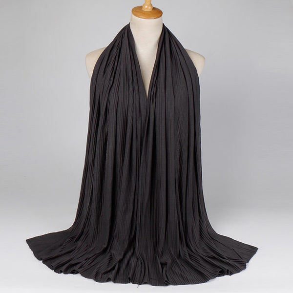 Black Crinkled Jersey Cotton Scarf (2335756910649)